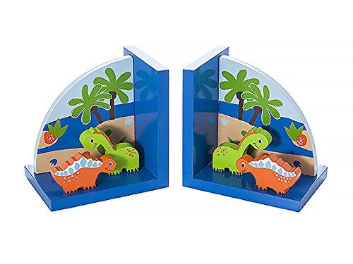 Buchstütze Dinosaurier (Kinder Buchstützen Blau Dinosaurier aus Holz für Jungen Kinderzimmer)