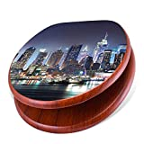 banjado Design Toilettensitz mit Absenkautomatik, WC-Sitz Holz, Klodeckel mit Metall Scharnieren, Toilettendeckel mit Motiv New York