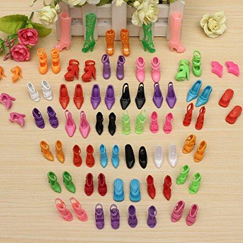 CAMTOA 40 Paia Fashion Dolls Scarpe, Tacchi Alti, Sandali, Stivali Per La Bambola Regalo ,Multicolore (Adatti Per Barbie Dolls)