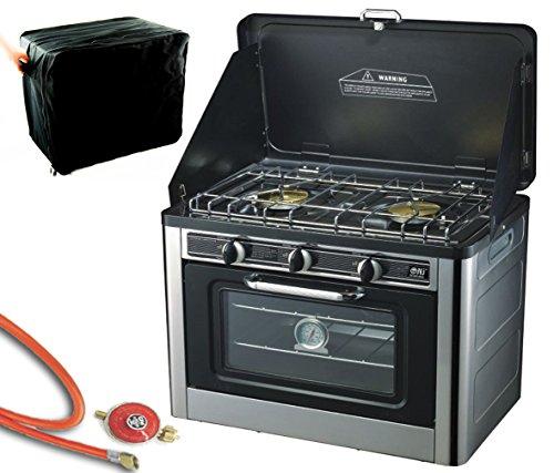Gaskocher 2 flammig Campingkocher mit Gas Backofen mit Deckel Ofen Gasgrill Gasherd inkl. Gasschlauch-Regler Set (Backofen-brenner Top)