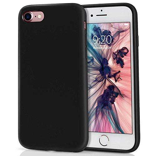 MILPROX iPhone 8 Silikon Hülle, iPhone 7 Silikon Hülle Silikon-Handyschale, Nette flüssige Silikons, stoßsicheres Futter aus Mikrofaser, geeignet für iPhone 7/8-Schwarz