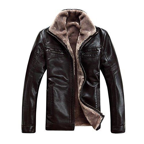 Cravog Lederjacke Herren Kunstlederjacke Lederbekleidung Wolle Herrenbekleidung Männer Jacke Winter Outerwear Mantel,Schwarz,Braun Braun