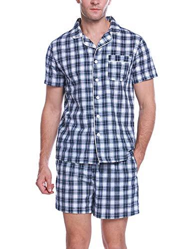 Aibrou Herren Zweiteiliger Schlafanzug Kurz Kariert Nachtwäsche Kurzarm Pyjama für Sommer Blau+Weiß M -