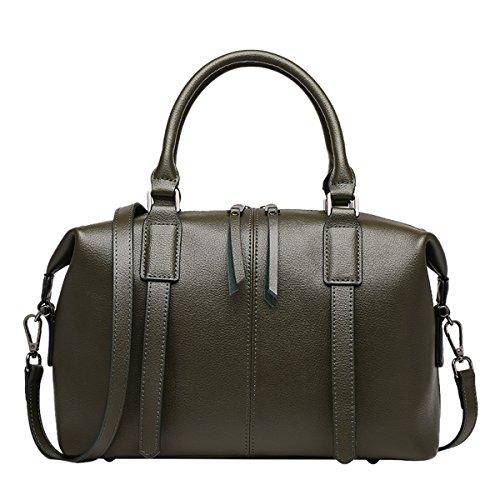 Dissa Q0791 Damen Leder Handtaschen Top Handle Satchel Tote Taschen Schultertaschen,33x14x23 B x T x H (cm) Grün
