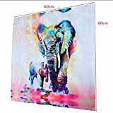 Generic Modern Leinwanddruck Druck Bild aus Leinwand Malerei Wohnzimmer Wand Wandbild Dekoration , Bunte Elefanten Design - Multi, 20cm * 20cm