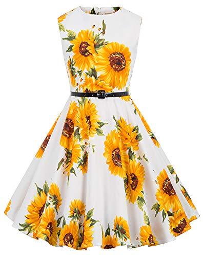 Kate Kasin Maedchen Retro Kleid Aermellos Kleid 9-10 Jahre KK250-28 (Mädchen 10 Kleider)