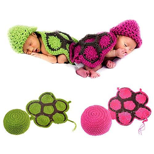 Fewao Baby Foto-Requisite Outfit Kleidung Neugeborene Baby Schildkröte Häkeln Kleidung Kostüm Set Niedlich Handarbeit Kostüm Mütze Unisex Mädchen Jungen Set BlueTop Gr. S, grün