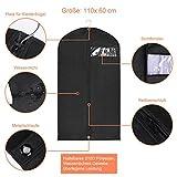 YISSVIC 3PCS Kleidersack Vliesstoff Atmungsaktive Kleiderhülle Kleiderschutz Aufbewahrung 110 × 60cm mit Schuhbeutel 40 × 28cm Schwarz - 2