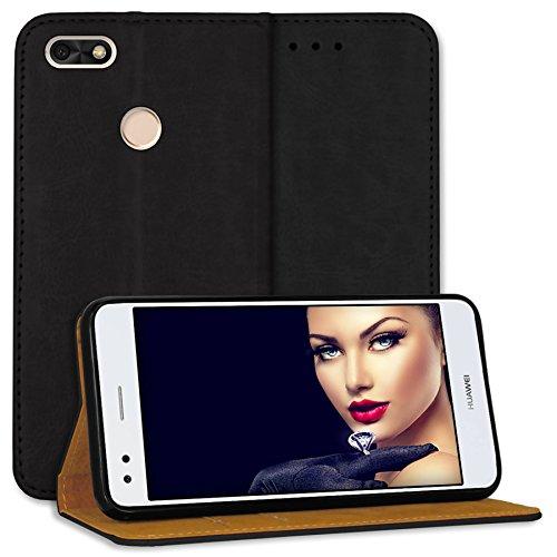 mtb more energy® Leder Bookstyle Case für Huawei P9 Lite Mini / Y6 Pro 2017 (5.0'')   schwarz   Echtleder   Schutz-Tasche Wallet Folio Cover Hülle
