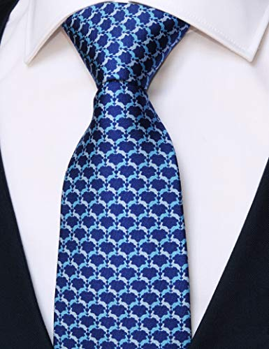 100% Silk Ties for Men Handmade Neckties with Animal Printed Patterns+Gift box (Bunnies - Silver White & Sky Blue on Acid Blue, Regular Length - 59