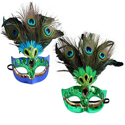 ACMEDE Federmaske Maskerade Maske Pfau Federn Kunst Muster Masken Frauen für Halloween Party Karneval Kostüm Cosplay , Fasching Party ,Ball