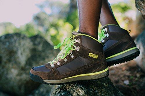 GUGGEN Mountain Herren Wanderschuhe Bergschuhe Outdoorschuhe Walkingschuhe Outdoor M010 Braun-Gelb