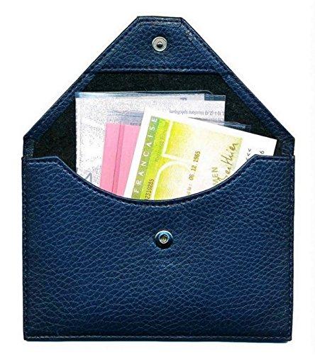 Etui / Schutzhülle, mit Klappe, Leder, für Führerschein, Kfz-Zulassung, Marineblau