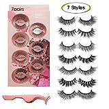 False Eyelashes 7 Styles - Professional Reusable Face Eyelashes for All Eyes, Natural