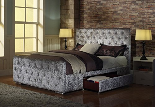 Brand New Crushed Velvet Fabric Bed Frame Zoe Silver 5ft, King Size With Storage
