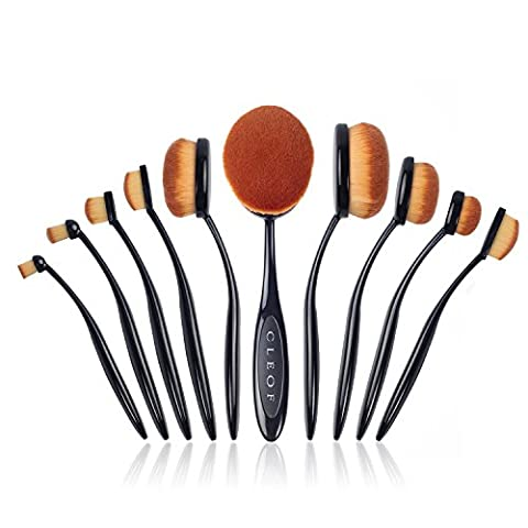 Professionelles Oval Make up Pinsel Set - 10-teilig - verschiedene