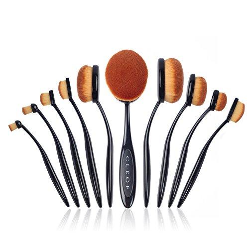 Professionel Ovales Pinceaux Maquillage - 10 Pinceaux Set Conception du style de Brosse à dent (Noir)