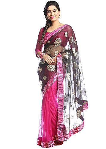 Florence Women\'s Black and Pink Lycra Embroidered Saree With Un-Stitched Blouse