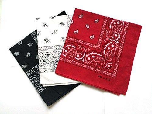 QBSM Pack de 6(100% Algodón) Pañuelos Bandanas de Modelo de Paisley para Cuello/Cabeza Multicolor Múltiple para Mujer y Hombre(negro&blanco&rojo)