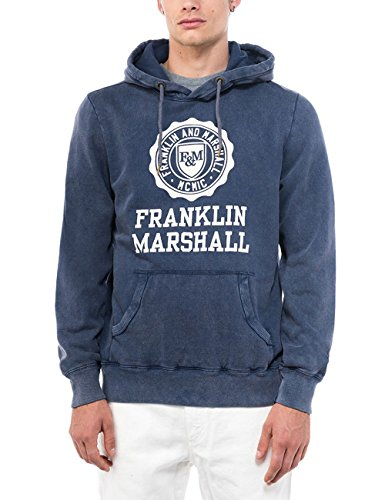 Franklin-Marshall-FLMF248-Overhead-Hoody-Mens-Red-Sweatshirt-Chest-Logo