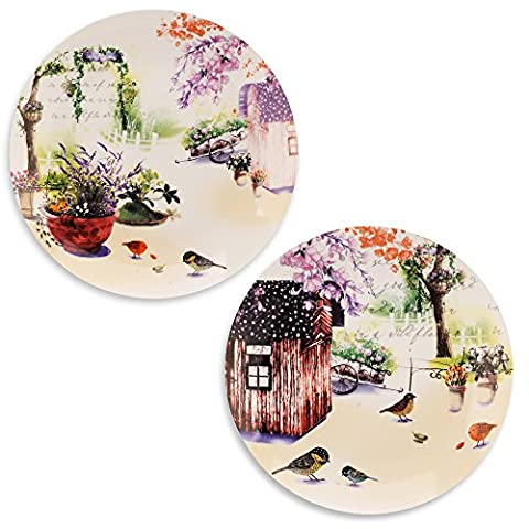 Mallvoler Salad/Side Plates Party Dishes Ceramic 8 inch/20cm Set of 2-Country Garden