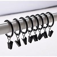 Musuntas 30Pcs. Diamètre 35mm multi-usages Anneaux de rideaux rideau clip Anneaux de rideau avec clips -- Noir