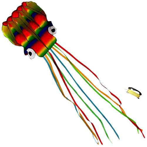 Riesige Regenbogen Krake Drachen - Keine Montage - Rahmenlos Körper Mit Langen, 4M Fließenden Schwänze - Garten, Park, Strand Sommerspaß Für Kinder - Fliegende Spielzeug