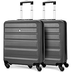 Aerolite 56x45x25 Taille Maximum Easyjet / Jet2 / British Airways ABS Bagage Cabine à Main Valise Rigide Léger 4 roulettes (2X Charbon)