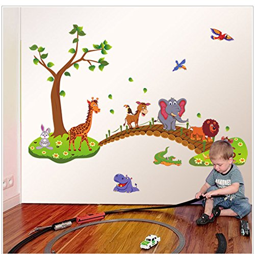 Rureng Cartoon's Animal Bridge Kindergarten Kinder Zimmer Einrichtung Können PVC Wand Aufkleber Entfernen.