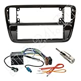 Einbauset : Autoradio 1-DIN Blende Einbaurahmen RadioblendeHochglanz schwarz (piano-black) + Quadlock Adapter Adapterkabel mit Fakra Antennenadapter für VW up! (AA/AAN) ab 12/2011