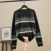 IJL Sweater Diamond Twist Suéter de Invierno para Mujer con suéter de Punto a Rayas Cuello Redondo Ancho Código de Estilo Vintage Turtlenge Negro