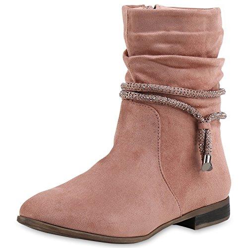 Klassische Damen Stiefeletten Gefüttert Strass Stiefel Schuhe Rosa (Rosa Schuhe Kostüm Damen)