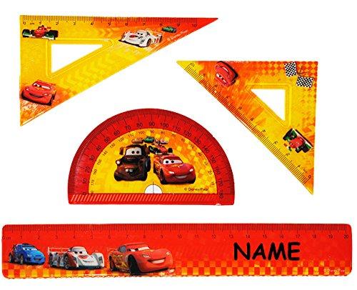 alles-meine.de GmbH 4 tlg. Set - Lineal & Geodreieck & Winkellineal -  Disney Cars - Lightning Mc..