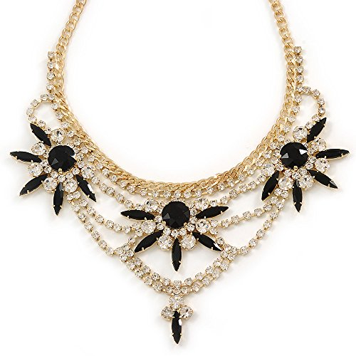 Dichiarazione Nero %2F cristalli Timando-Collana con fiore placcato oro _42% 2F 8 cm di estensione
