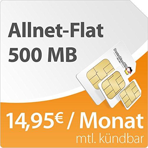 DeutschlandSIM Flat S 500 [Nano-SIM] monatlich kündbar (500MB Daten-Flat mit max. 7,2 MBit/s, Telefonie-Flat, 9ct pro SMS, 14,95 Euro/Monat) o2-Netz