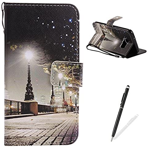 Samsung Galaxy S7 Edge Case,Feeltech Elegant Premium Flip PU Leather Wallet Cover with Magnetic Closure Stand Function Protective [Free 2 in 1 Stylus] Credit Card Slots Holder and Money Pouch Vintage Retro Cartoon Pattern Design Flip Book Style Cover Case With Hand Strap for Samsung Galaxy S7 Edge - London Street