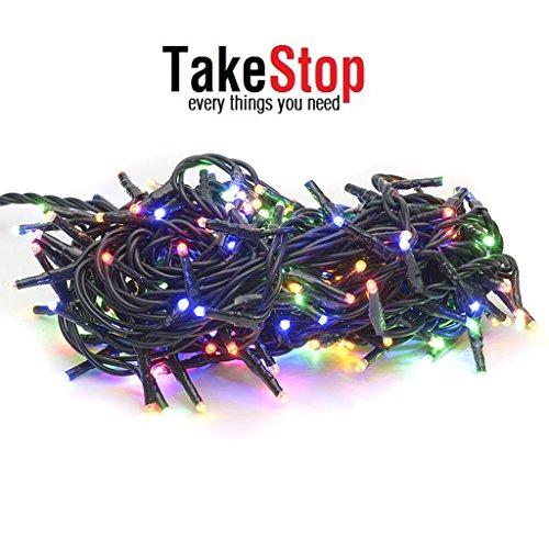 Takestop® 200 led luci colorate colore filo verde albero di natale catena luminosa controller 8 funzioni minilucciole lampadine lucciole