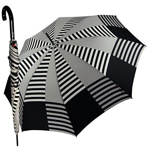 Regenschirm Stockschirm Knirps Damen, schwarz / grau