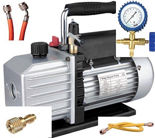 Set Climatizzazione Pompa a vuoto TÜV + gruppo manometrico + tubi, 50 lt, R410A R407c R134a R, NUOVO