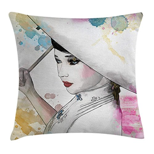 Apartment Decor Throw Pillow Cushion Cover, Eastern Woman Girl with Oriental Umbrella Drawing with Watercolor Brushstrokes, Decorative Square Accent Pillow Case, 18 X 18 inches, Multi