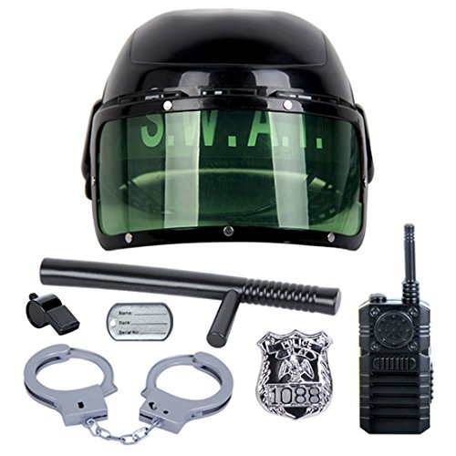FOKOM Children Toy 7 Pcs Riot Police Hat Game Police Costume Kids