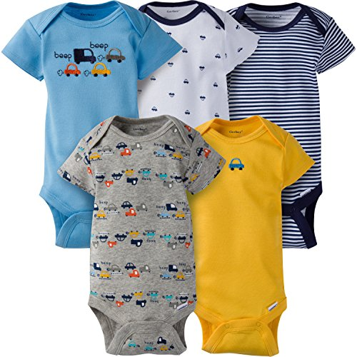 Gerber Baby Boys' 5-Pack Short-Sleeve Onesies Bodysuit, Little Cars, 3-6 Months -