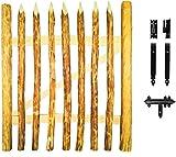 Floranica - Imprägniertes Gartentor für Staketenzaun in 3 Größen, Bauernzaun als Zauntor, Einzeltor oder Flügeltor, Tor mit Scharniere inkl. Zubehör, Holzart: Haselnussholz, Breite: 100cm, Höhe:100 cm