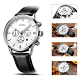 SONGDU Mens Big Face Multi-function Chronograph Quartz Watch With Alloy Watch Case Black Pin Buckle Leather Strap and White Dial Plate——Ideal and Celebrative Gift for Christmas and New Year Sales
