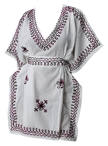 LA LEELA nado Seda artificial Seda artificial primeras mujeres túnica bordada blusa blanca playa encubrir caftán