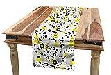 ABAKUHAUS Schwarz und Gelb Tischläufer, 80er Memphis, Esszimmer Küche Rechteckiger Dekorativer Tischläufer, 40 x 180 cm, Gelb Weiß Schwarz