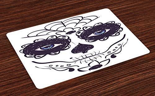 ABAKUHAUS Tag der Toten Platzmatten, Dia de Los Muertos Zuckerschädel-Mädchen-Gesicht mit Maske bilden Druck, Tiscjdeco aus Farbfesten Stoff für das Esszimmer und Küch, Weiß Schwarz und Blau