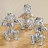 Boltze 1007734 Dekofiguren Set Deko Affen Figur Porzellan Silber 3 tlg.