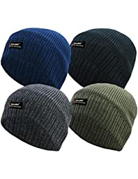 RockJock Mens Plain Thinsulate Beanie Hat Thermal Fine Rib Winter Fleece Lined