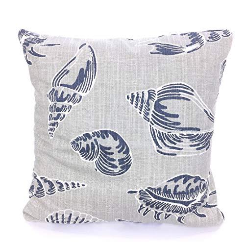 FloradeSweet Kissenbez¨¹ge nautische Marine grau Muscheln dekorative Kissen Kissenbez¨¹ge Kissen Cello blau grau Slub Leinwand Couch Bett (Grau Und Marine-dekorative Kissen)